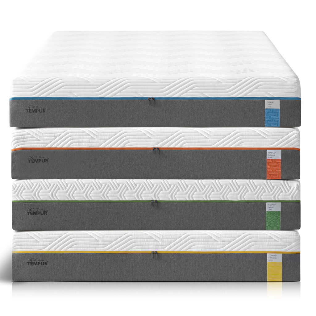 Stack of 4 different kinds of Tempur mattresses