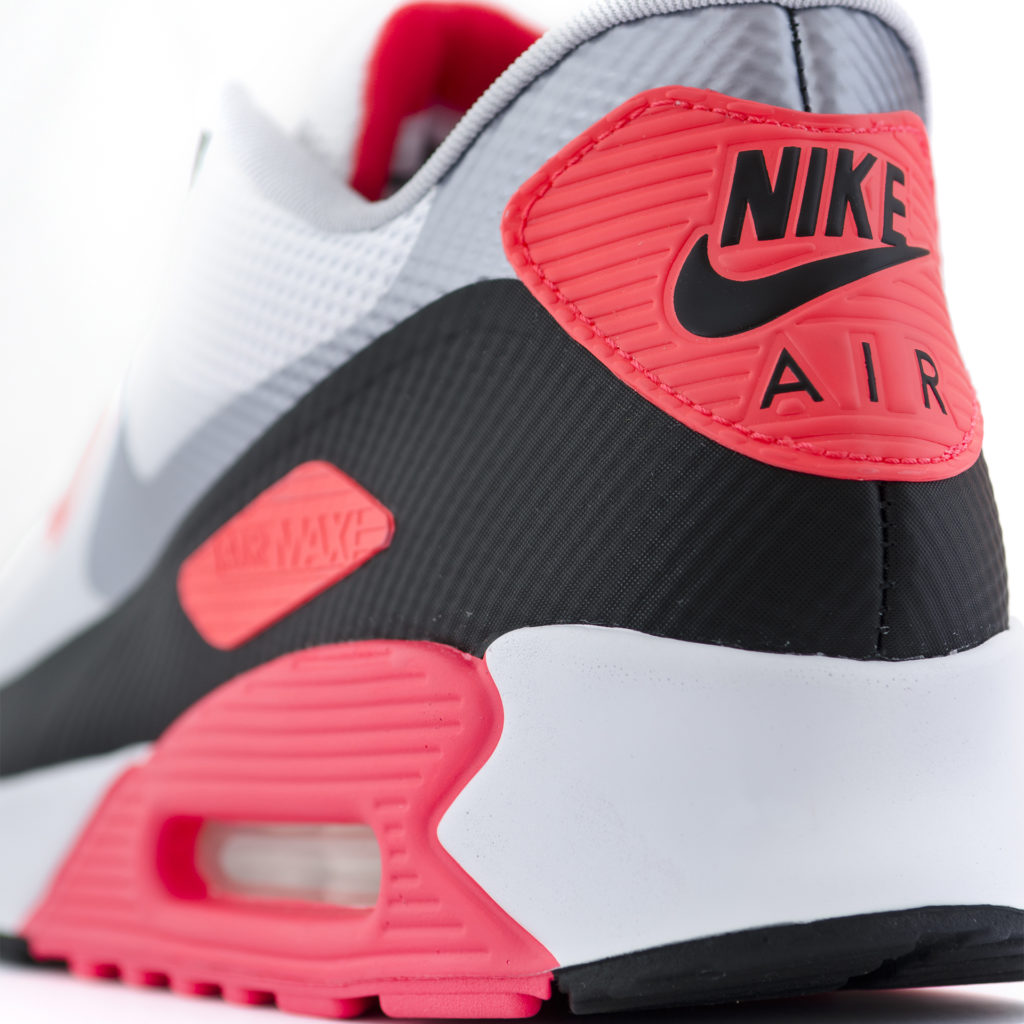 Close up of heel of Nike Air trainer, red, silver and black. Space tech originally from NASA
