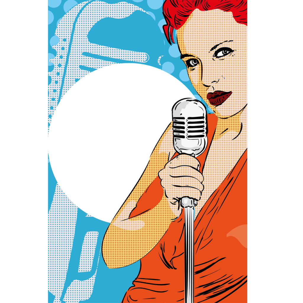 Pop art style illustration of sultry girl, short red hair, in orange dress with old fashioned microphone, spotlight behind