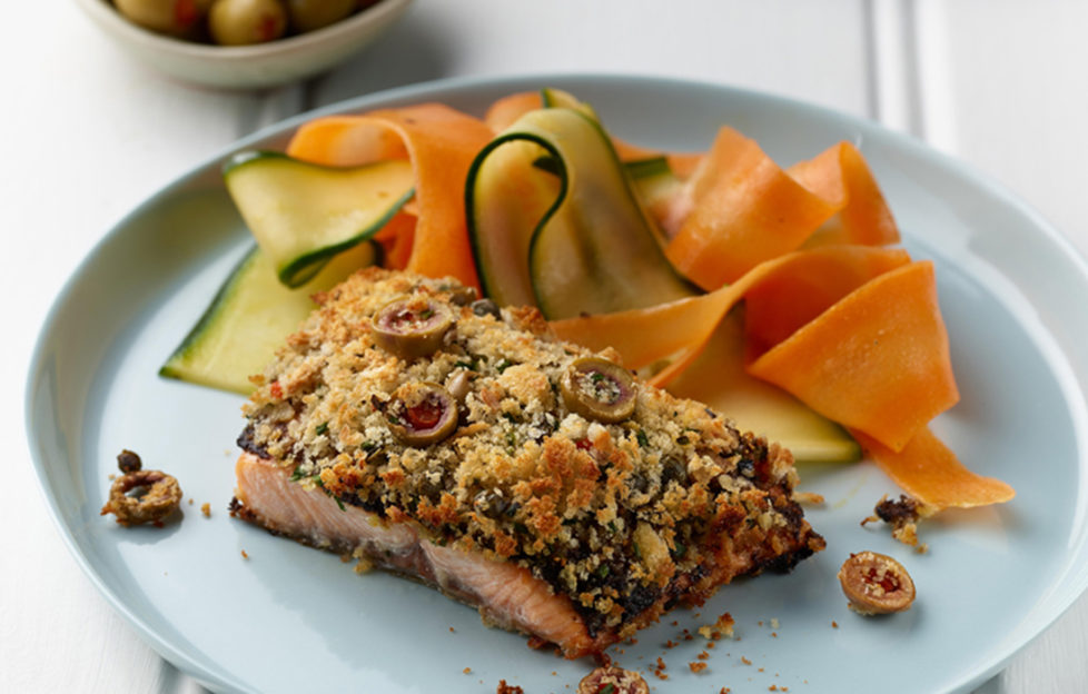 Salmon with olive crust