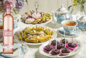 Afternoon tea spread with deliciously light rose