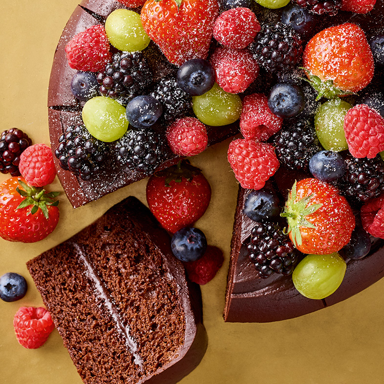 Chocolate cake topped with fruit
