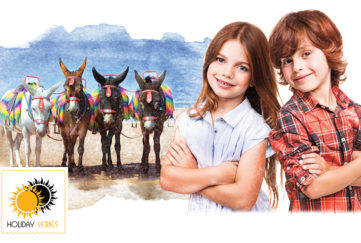 Illustration of boy and girl aged about 10, beach donkeys in background