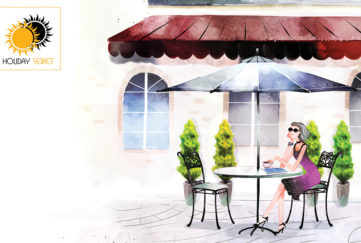 Watercolour-style illustration of older lady sitting outside Mediterranean cafe on family holiday