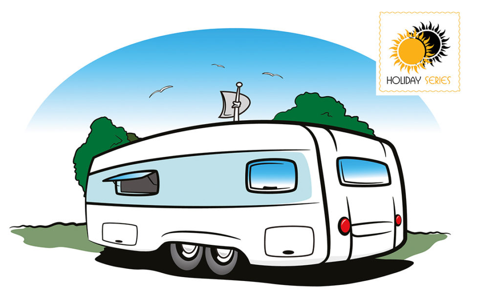 Cartoon of touring caravan parked in countryside