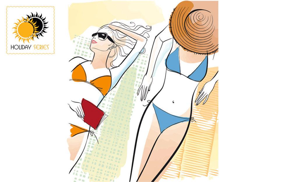 Sketch illustration of two girls in bikinis lying on beach towels in ibiza