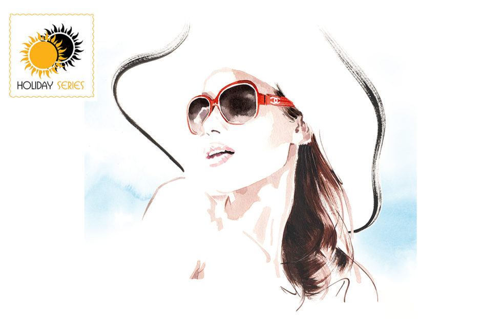 Watercolour sketch of carefree woman in sunhat and dark glasses, long dark hair, looking up