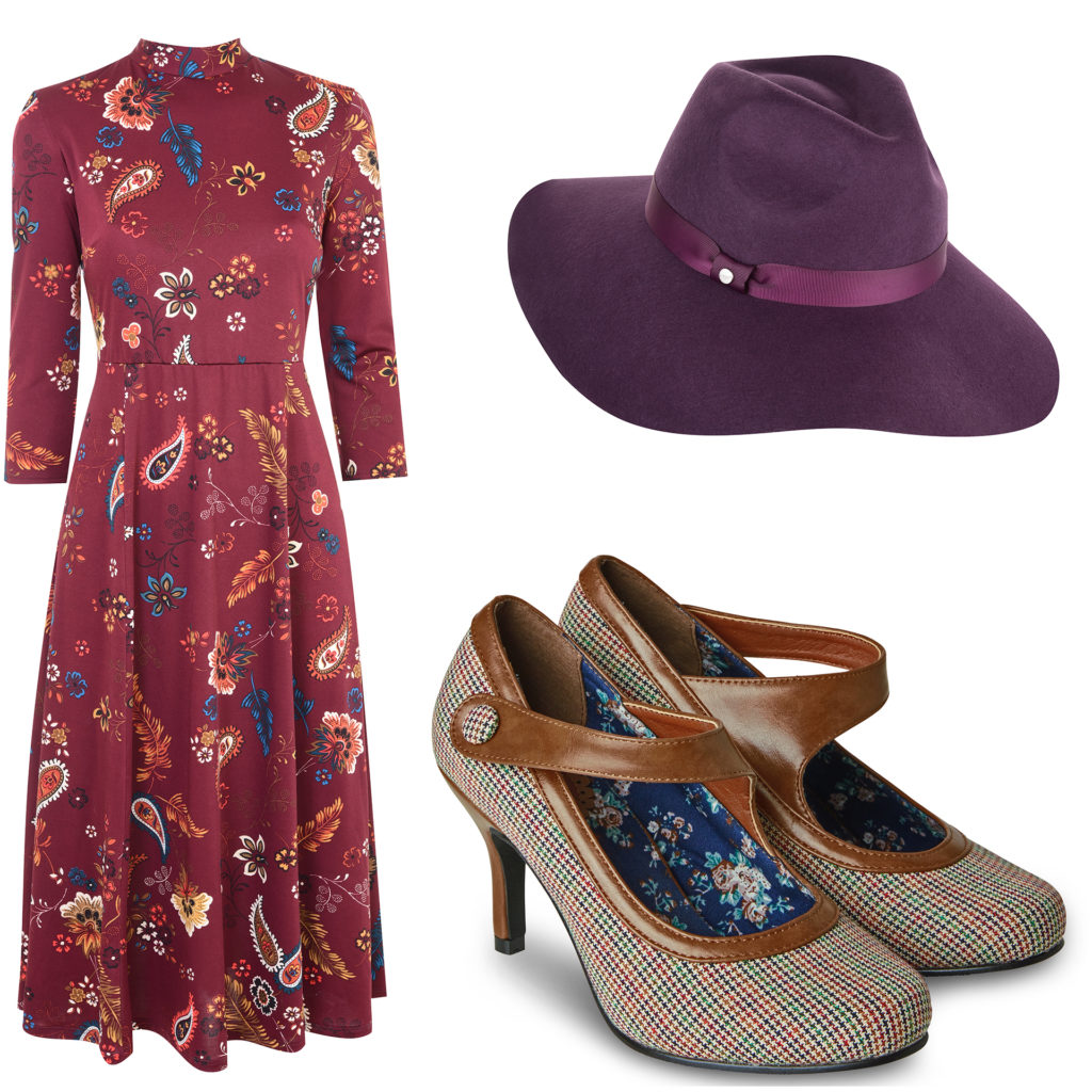 Composite image of a purple felt hat, long sleeved burgundy dress with paisley pattern, and 1920s style shoes in tweed and tan leather