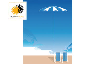 Digital illustration of sea, sky, blue and white umbrella and deckchairs