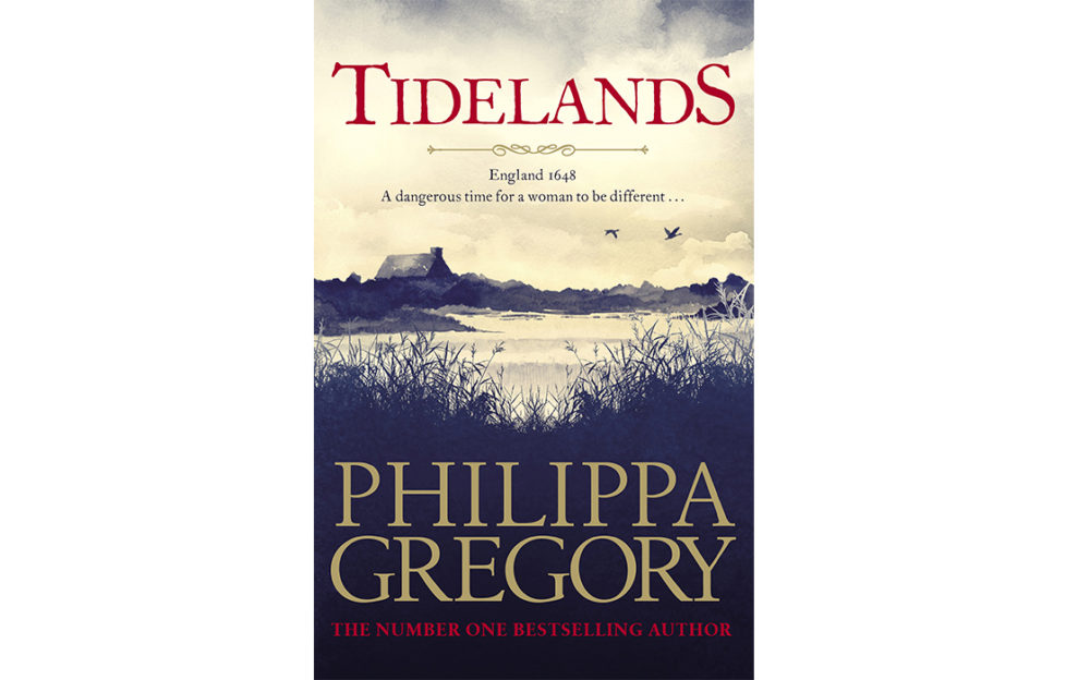 Cover of Tidelands - moody sepia painting looking through reeds to a lake, a cottage beyond and two swans flying