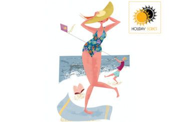 Humorous illustration of woman on windy beach in swimming costume, stopping sunhat blowing away