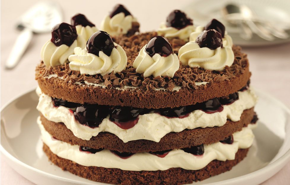 Black Cherry Gateau , three-layer sponge with cream and black cherry filling and topping