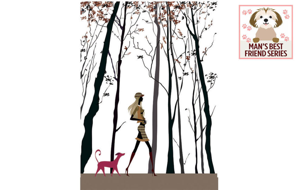 Digital illustration, low angle, of tall girl walking with dog through very tall spindly trees. A girl's best friend