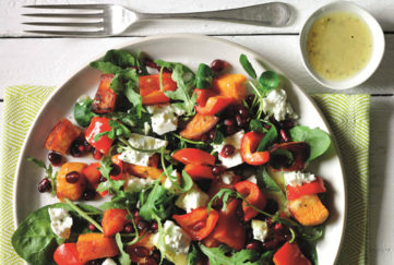 power packed lunch, salad with roasted sweet potato and feta cheese