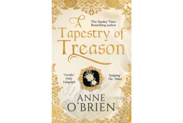 Cover of A Tapestry Of Treason, with effect of gold embroidery and a white rose emblem on black