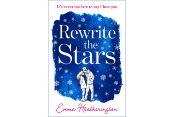 Cover of Rewrite The Stars, deep blue background, snowflakes falling, sketch of young couple, romance, yearning