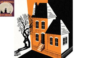 Orange and black image of house and twisty tree