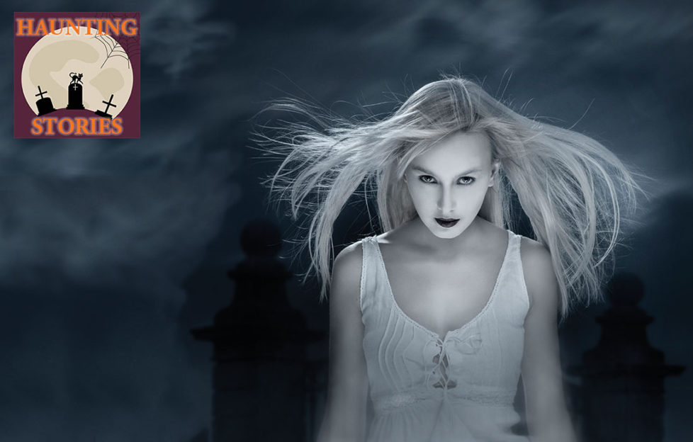 Ghostly girl in dark, lit from below, white dress, long hair