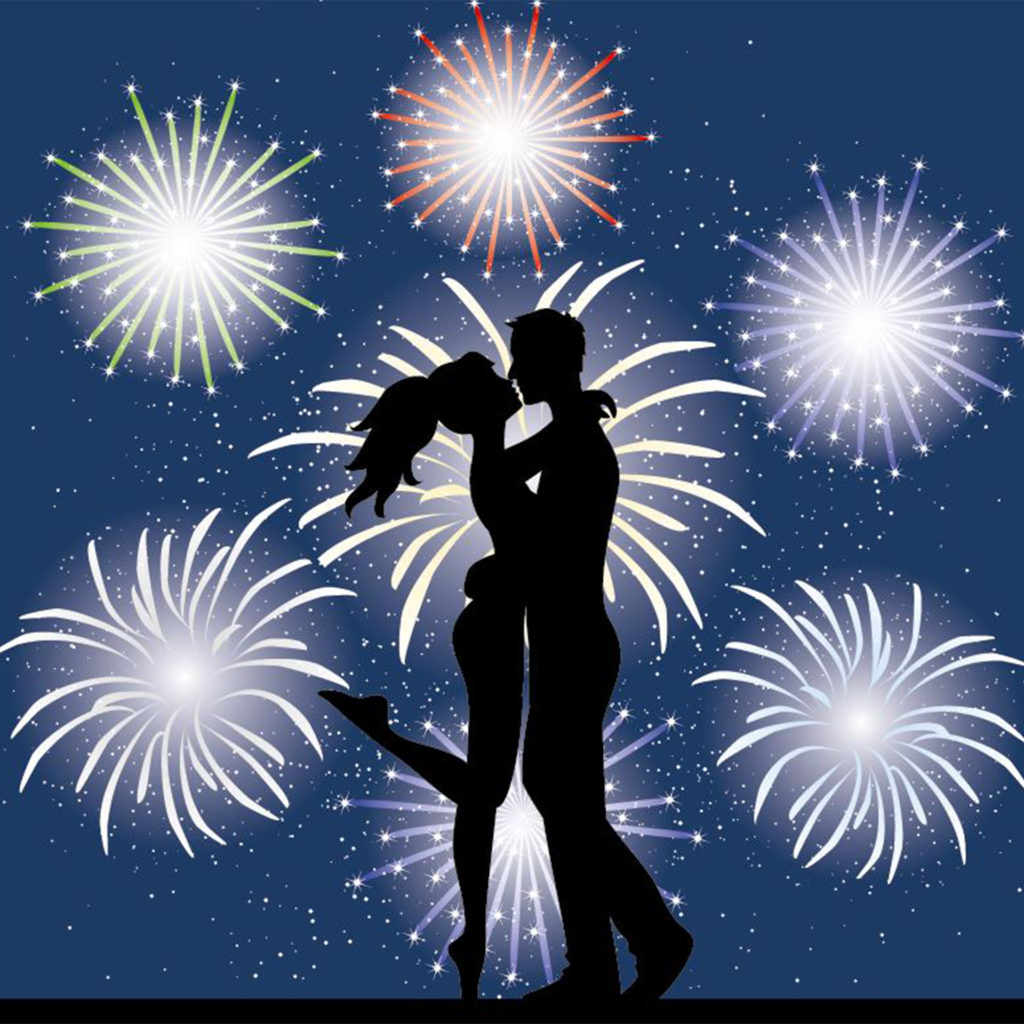 Digital illustration of couple in silhouette, embracing as fireworks explode behind