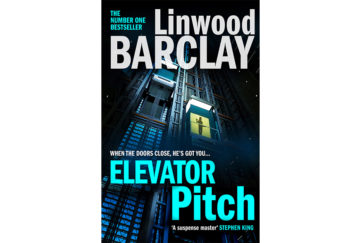 Cover of Elevator Pirch by Linwood Barclay. Glass lift ascends outside of high rise office block at night