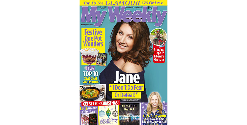 Cpver of My Weekly latest issue with Jane McDonald and one-pot cookery