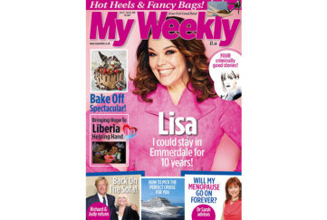 Cover of My Weekly latest issue Oct 22, with Lisa Riley and Bake Off cookery