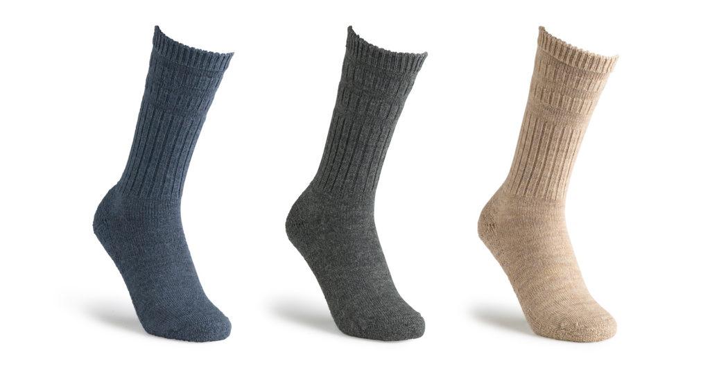 3 socks - blue, dark grey and beige