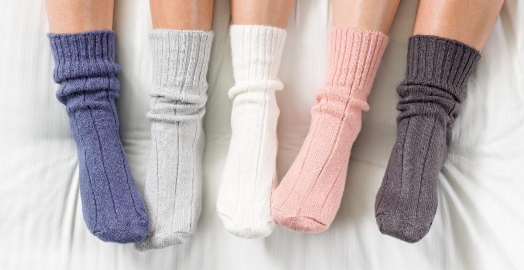4 bedsocks - blue, pale grey, dark grey, pink, and cream