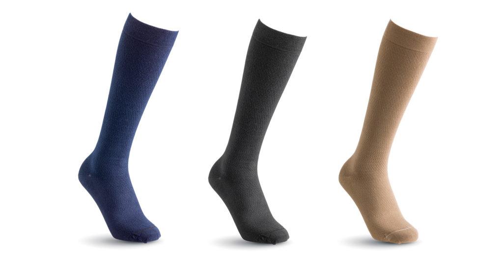 3 socks - blue, grey and beige