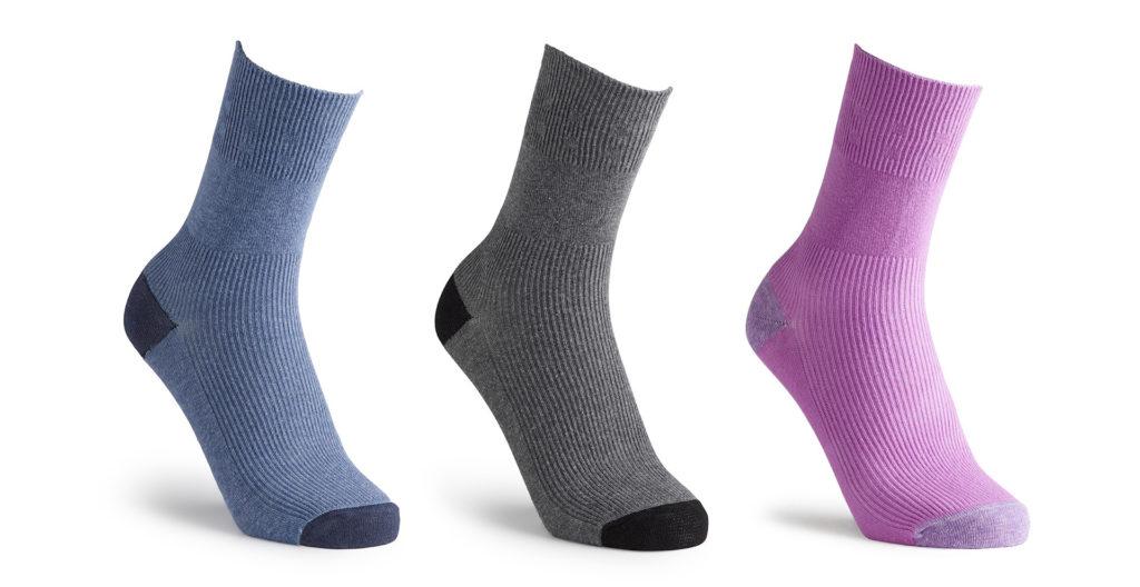 3 pairs of socks - blue, grey and purple