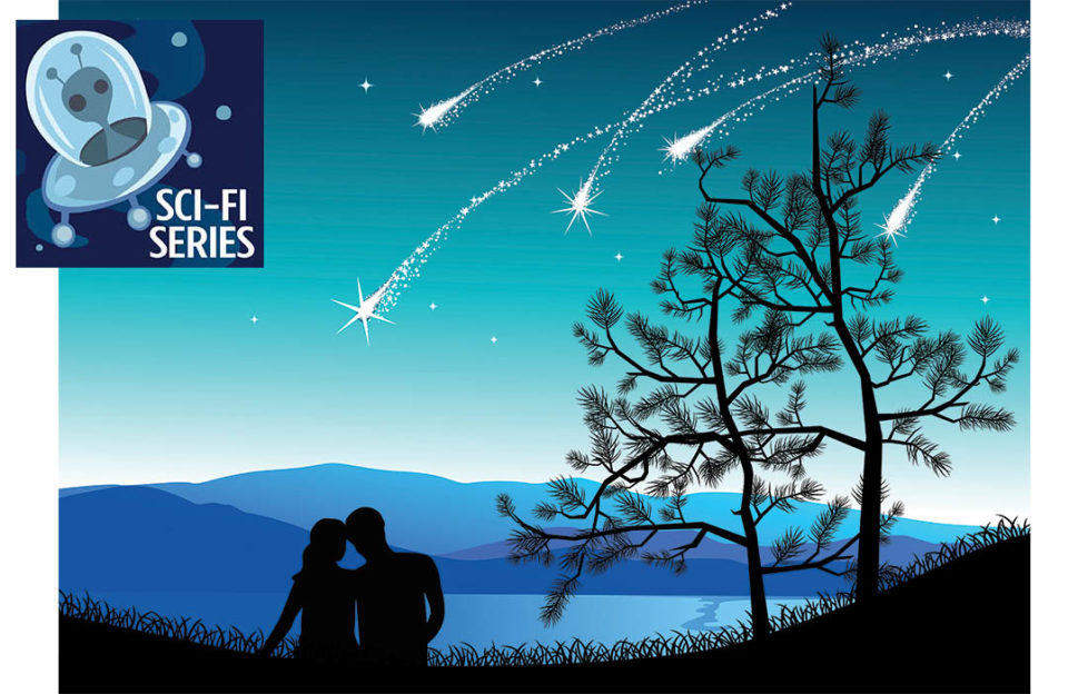 Illustration of couple in silhouette sitting watching shooting stars among trees
