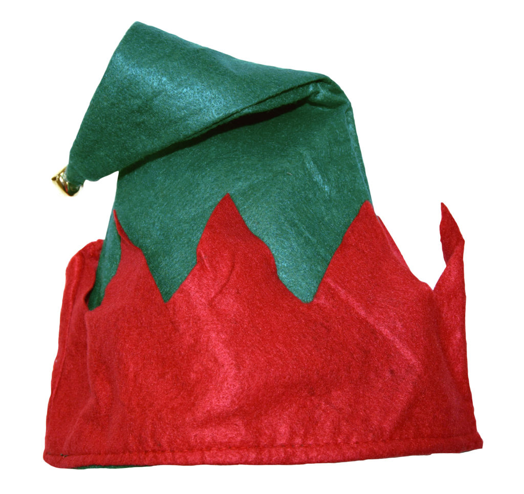 Lightweight pointy elf hat, dark green with red brim and small bell