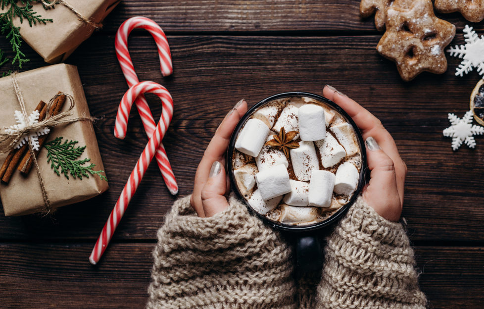Warming concept. Woman hands in knitted sweater with mug of hot chocolate. Coziness, home, winter holidays celebration