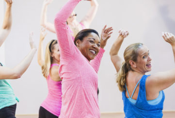 Group of multi-ethnic women in exercise class