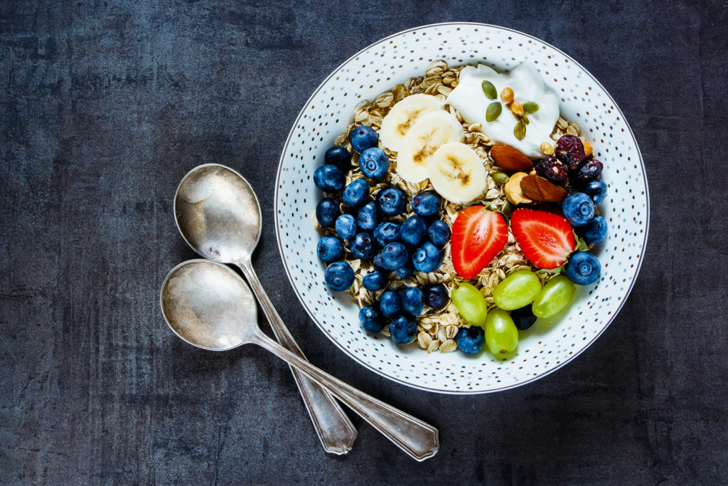 Healthy breakfast of oats and fruit