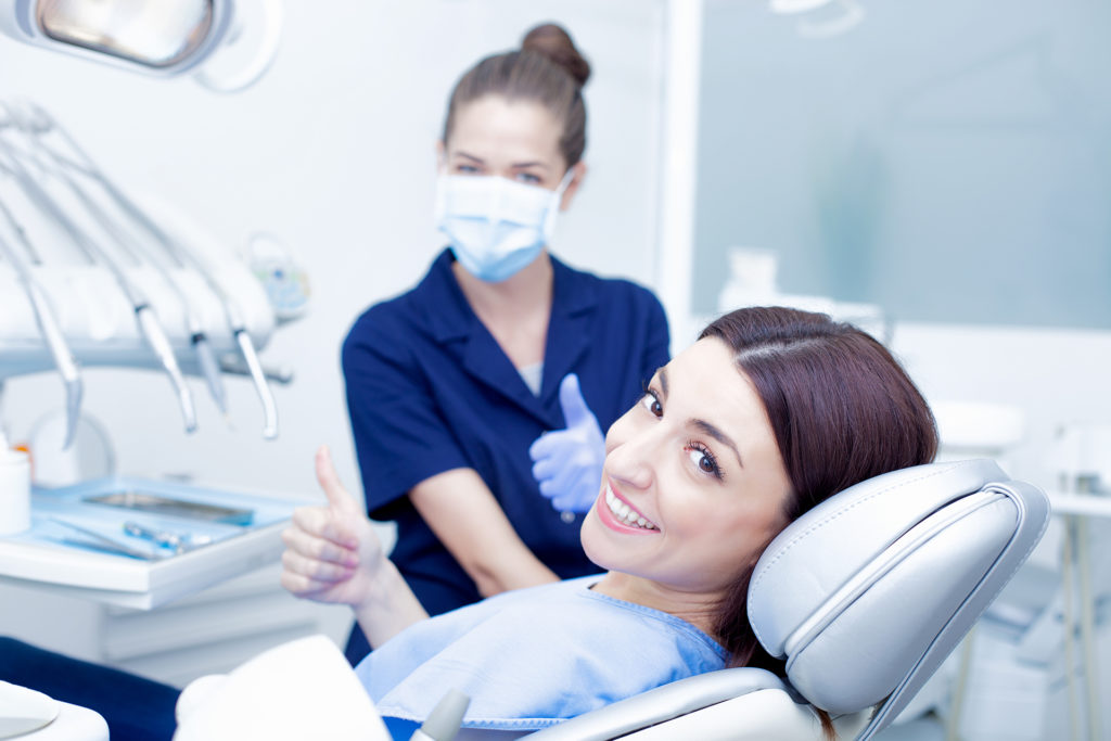 Woman visiting her dentist