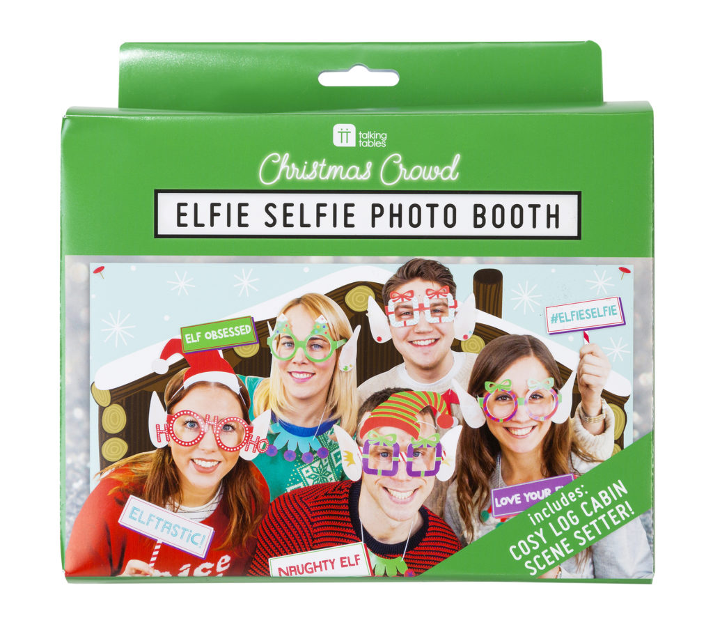 elfie selfies set, photo of group of people in silly hats, glasses, cheeky signs a etc