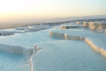 Pamukkale hot spring, Turkey. Details in text.