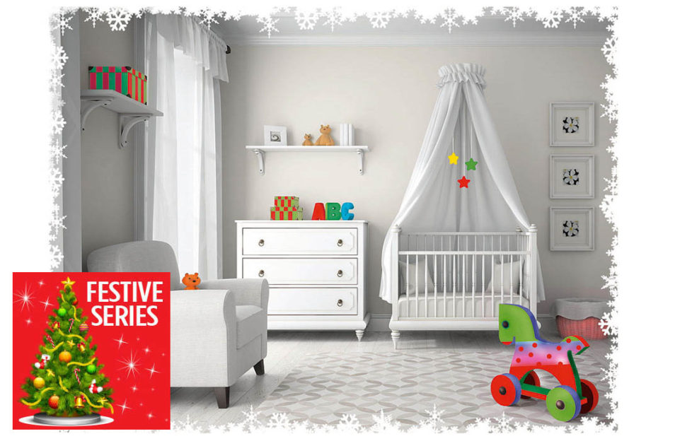 Baby nursery, all white except for bright coloured toys