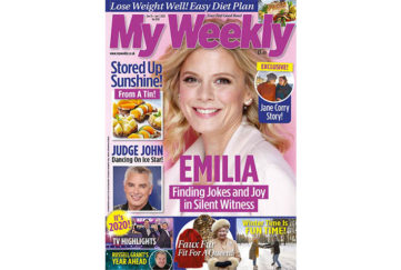 Cover of My Weekly Jan 4, 2020 with Emilia Fox and canned fruit cookery