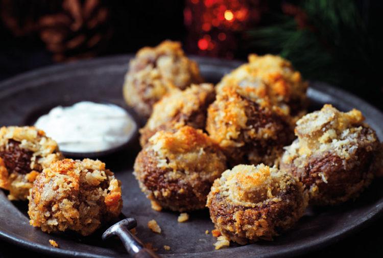 Mushrooms in golden breadcrumbs with creamy dip