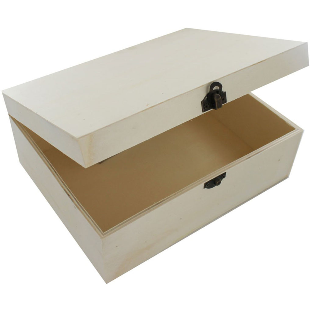 Plain plywood box with hinged lid