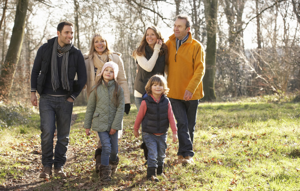 3 Generation family on country walk in winter;
