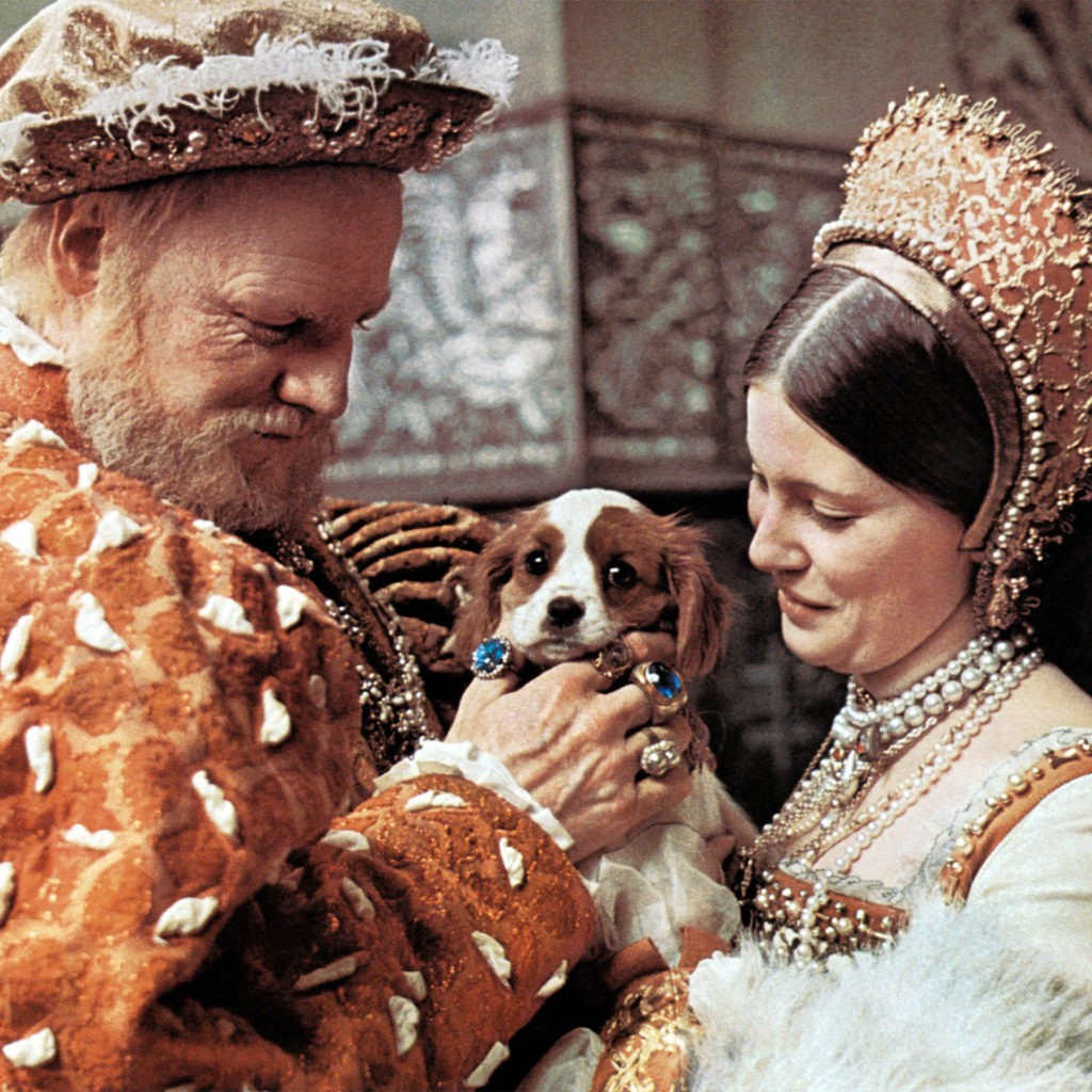 HENRY VIII AND HIS SIX WIVES, from left: Keith Michell, Lynne Frederick, 1972. Lynne as