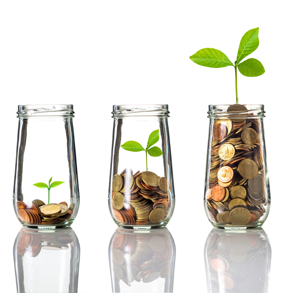 3 glass jars with coins in and green shoot of plant seedling growing from them