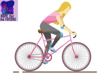 Vector image of a woman in pink and grey sports gear cycling as fast as she can