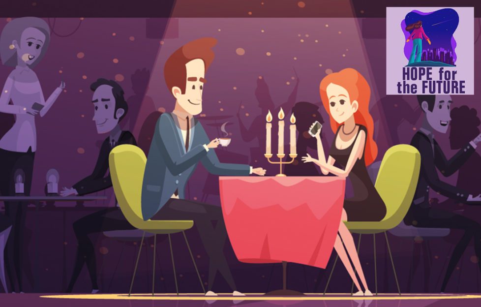Illustration of couple at classy restaurant, candelabra on table