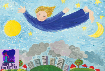 Naive style painting of child in blue night shirt flying high above the town among the stars