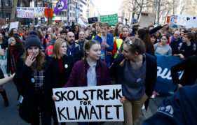 Greta Thunberg leads a student climate march.